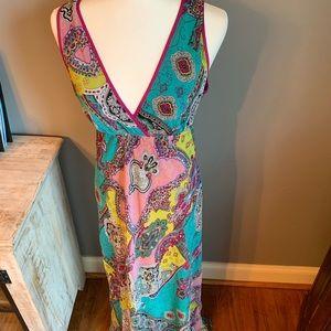 Petticoat Alley floral deep V neck maxi dress, szM